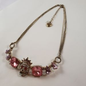 Authentic Betsey Johnson choke 3 chain necklace